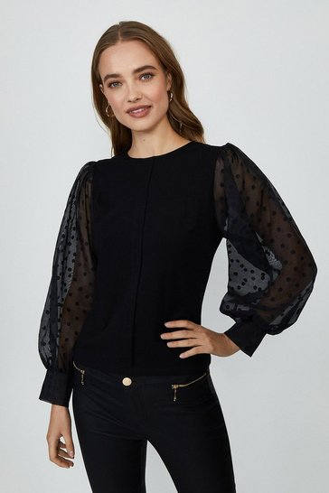Black Spotty Organza Long Sleeve Top