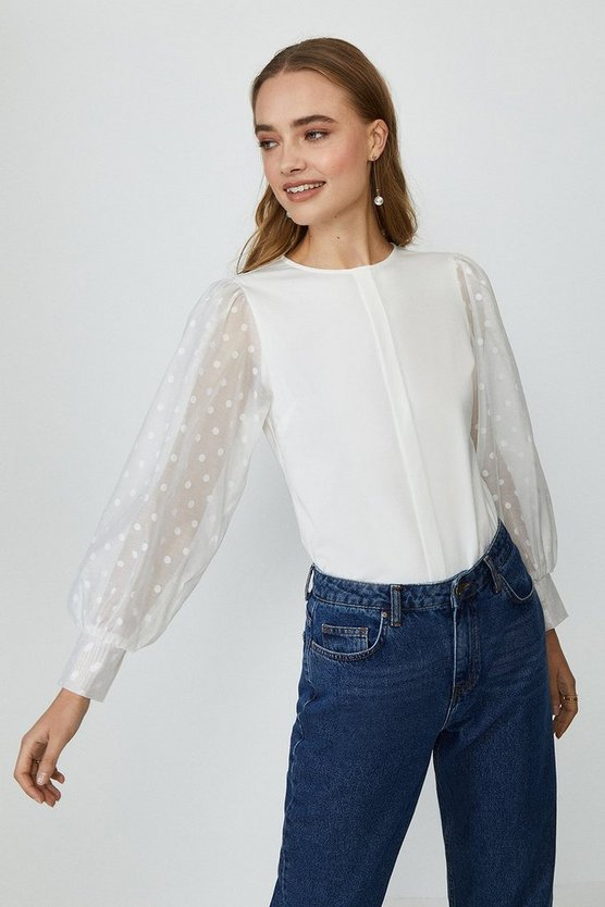 Ivory Spotty Organza Long Sleeve Top