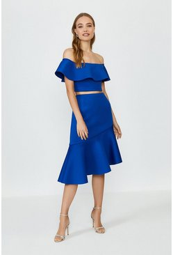 Cobalt Off The Shoulder Top And Midi Skirt Co-Ord