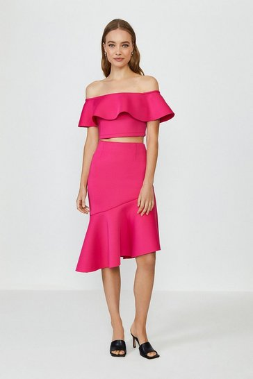 Hot pink Off The Shoulder Top And Midi Skirt Co-Ord