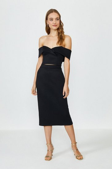 Black Scuba Bardot Top And Midi Skirt Co-Ord
