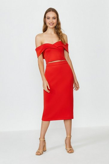 Red Scuba Bardot Top And Midi Skirt Co-Ord