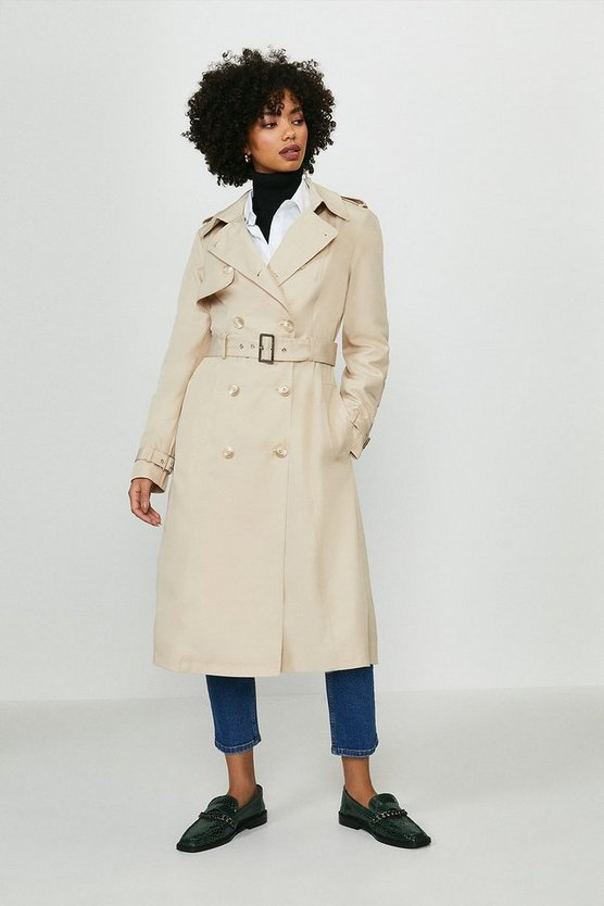 Camel Belted Long Trench Coat