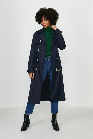 Navy Belted Long Trench Coat