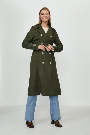Olive Belted Long Trench Coat