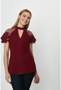 Berry Cut Out Detail Lace Cap Sleeve Top
