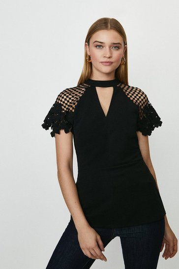 Black Cut Out Detail Lace Cap Sleeve Top