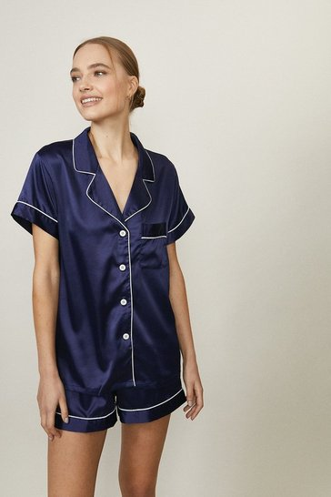 Navy Satin Piped Short Pj Set