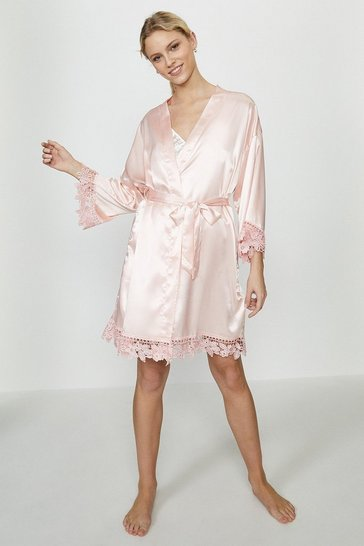 Blush Satin Lace Trim Robe