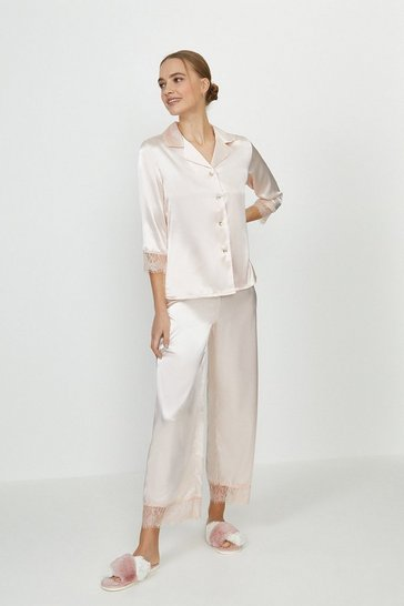 Blush Satin Lace Trim Trouser PJ Set