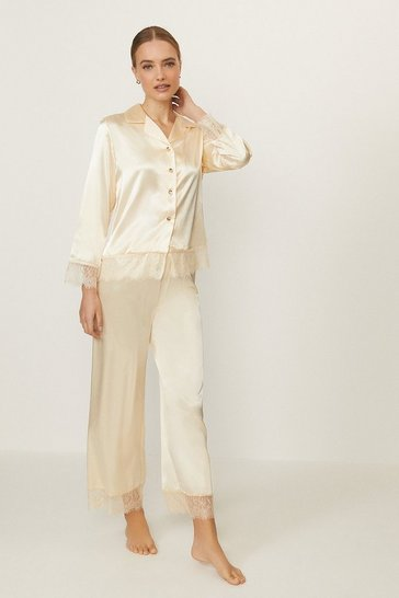 Ivory Satin Lace Trim Trouser PJ Set
