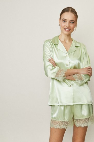 Mint Satin Lace Trim Short Pj Set