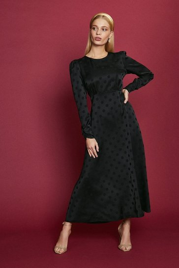 Black Satin Polka Dot Midi Dress