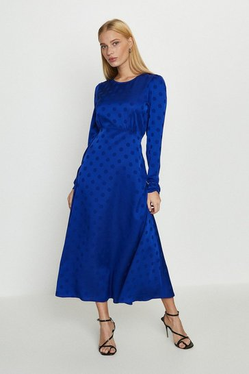 Cobalt Satin Polka Dot Midi Dress