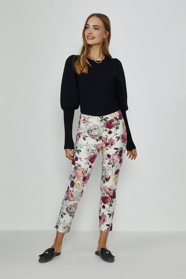 Cream Printed Cigarette Trouser