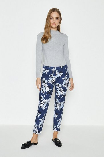 Teal Printed Cigarette Trouser