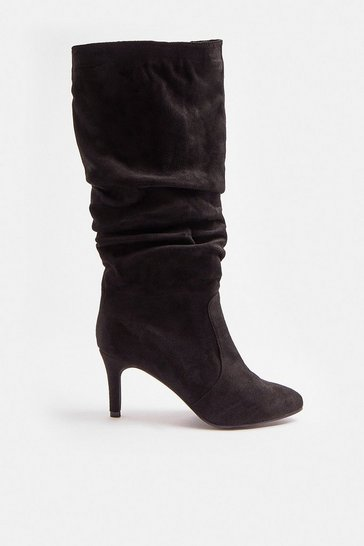 Black Ruched Suedette Knee High Boots