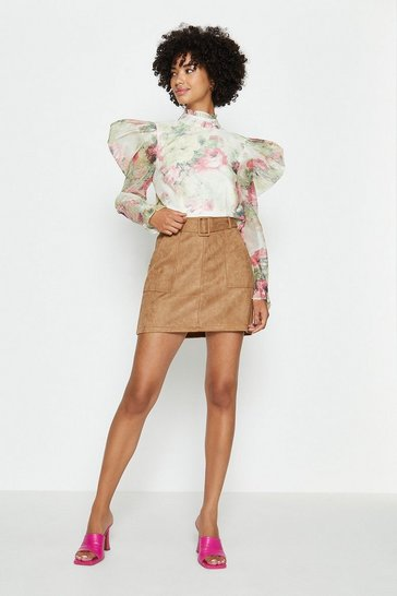 Tan Faux Suede Belted Mini Skirt