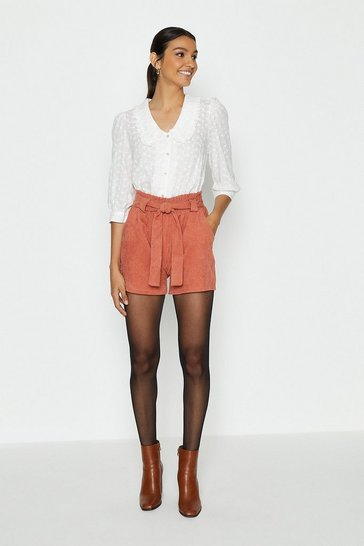 Rust Cord Paper Bag Shorts