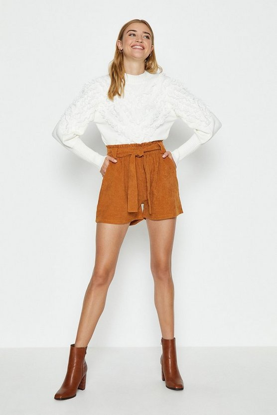 Tan Cord Paper Bag Shorts