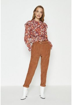Tan Cord Belted Trousers