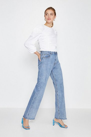 Blue Long Straight Leg Fashion Jean