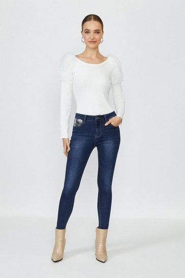 Blue Sequin Pocket Jean