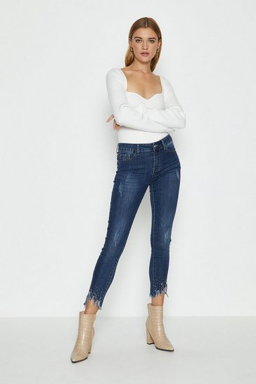Blue Raw Hem Embellished Jean