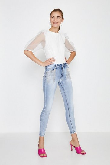 Blue Embellished Pocket Skinny Jean