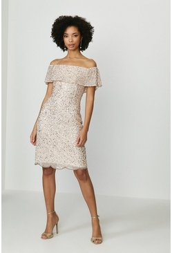 Blush Sequin Embellished Bardot Dress