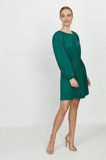 Green Slash Neck Plisse Dress