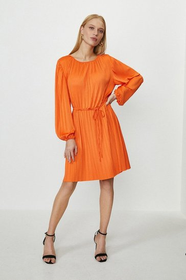 Orange Slash Neck Plisse Dress
