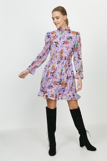Purple Shirred Neck Printed Dress