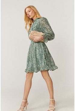 Sage Shirred Neck Printed Dress