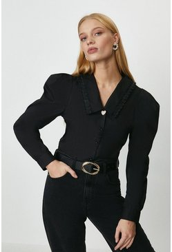 Black Bib Collar Heart Trim Blouse