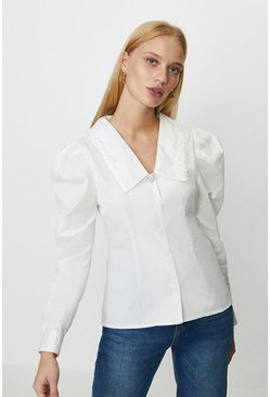 White Bib Collar Heart Trim Blouse