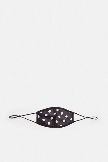 Blackwhite Polka Dot Print Fashion Face Mask