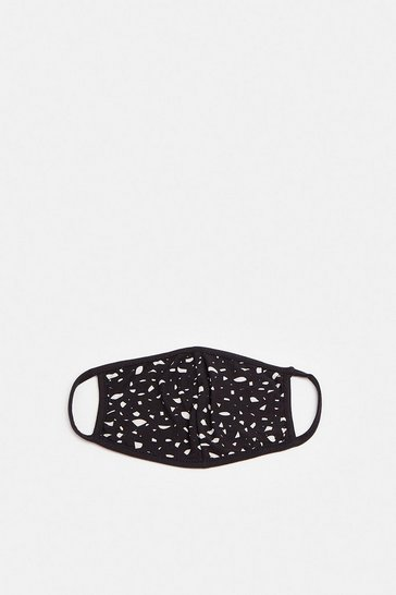 Blackwhite Abstract Print Face Mask