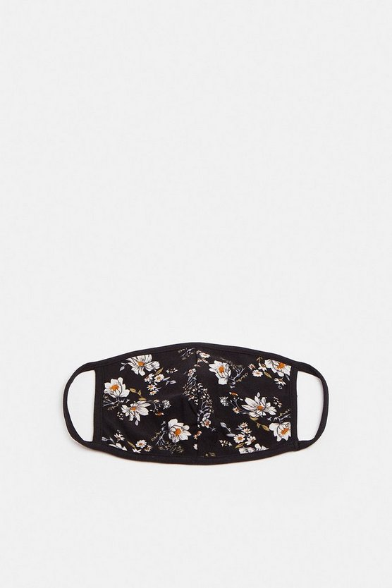 Blackwhite Flower Print Face Mask