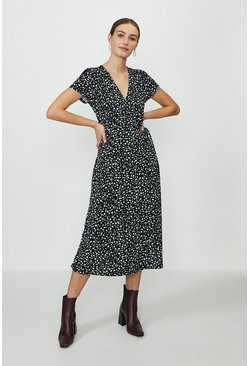 Black Slinky Jersey Printed Wrap Midi dress