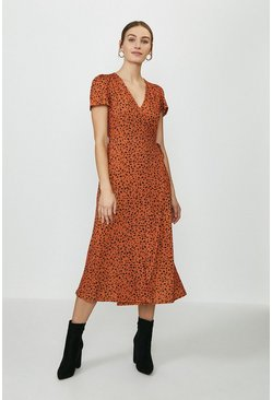 Rust Slinky Jersey Printed Wrap Midi dress