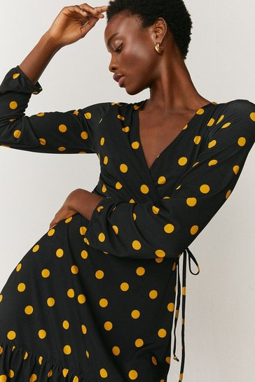 Black Slinky Jersey Printed Wrap Dress