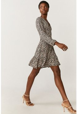 Natural Slinky Jersey Printed Wrap Dress