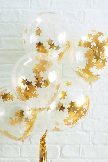 Gold Ginger Ray Metallic Star Confetti Balloons