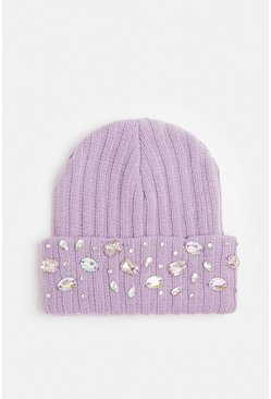 Lilac Diamante Embellished Beanie Hat