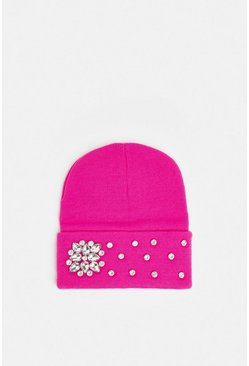 Hot pink Diamante Embellished Beanie Hat