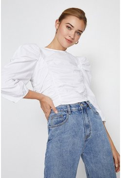 White Ruched Front Puff Sleeve Cropped Top