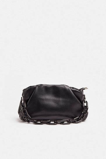 Black Chunky Chain Slouchy Shoulder Bag