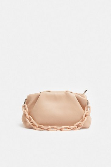 Blush Chunky Chain Slouchy Shoulder Bag