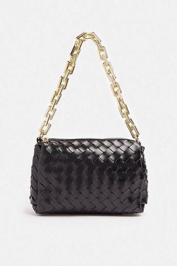 Black Weaved Chunky Chain Strap Shoulder Bag